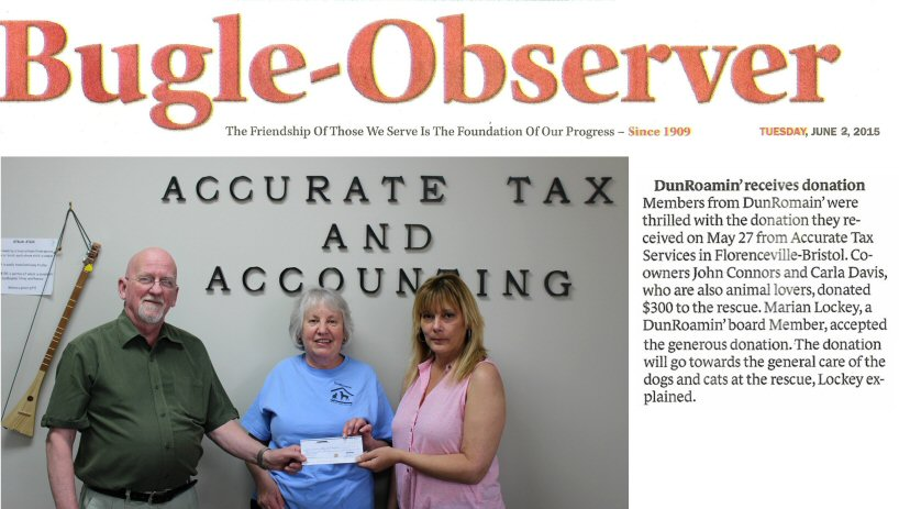 As always, thanks to our friends John and Carla at. Accurate Tax Service in  Bristol for all their support!